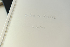 Made in Paris wedding album by Anais Chaine Photography detail on embossing on the real leather cover