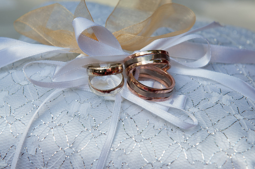 Stacked rose gold rings Homosexual Home garden Wedding Auckland Photographer Anais Chaine