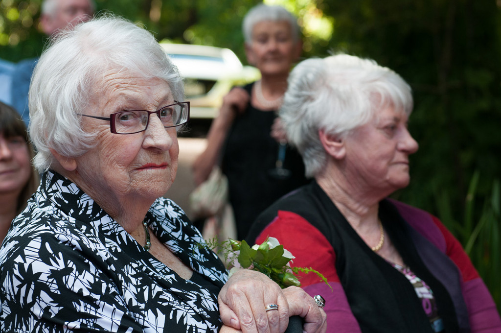 Elderly guests at the wedding Homosexual Home garden Wedding Auckland Photographer Anais Chaine
