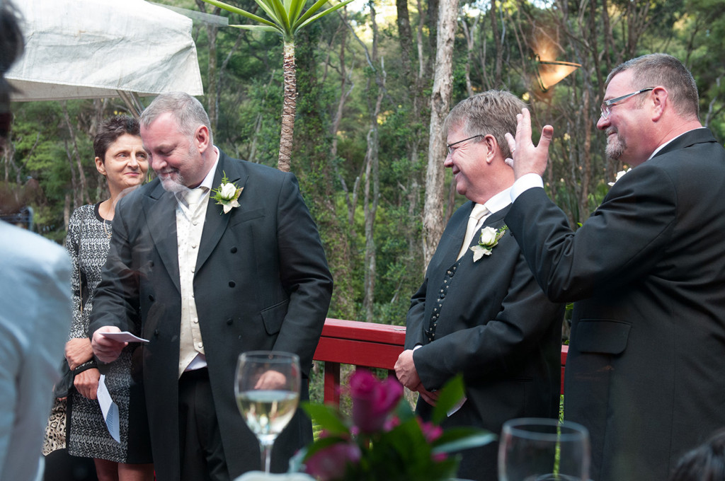 The groom reading his vows Homosexual Home garden Wedding Auckland Photographer Anais Chaine