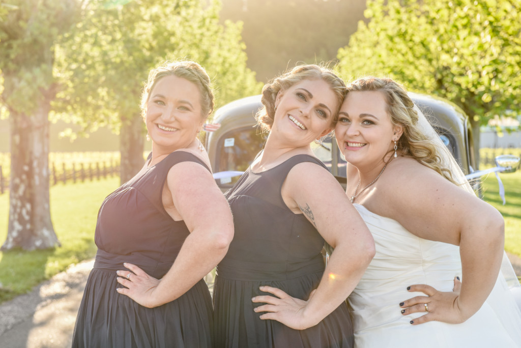 The bride strikes a pause with her bridesmaids