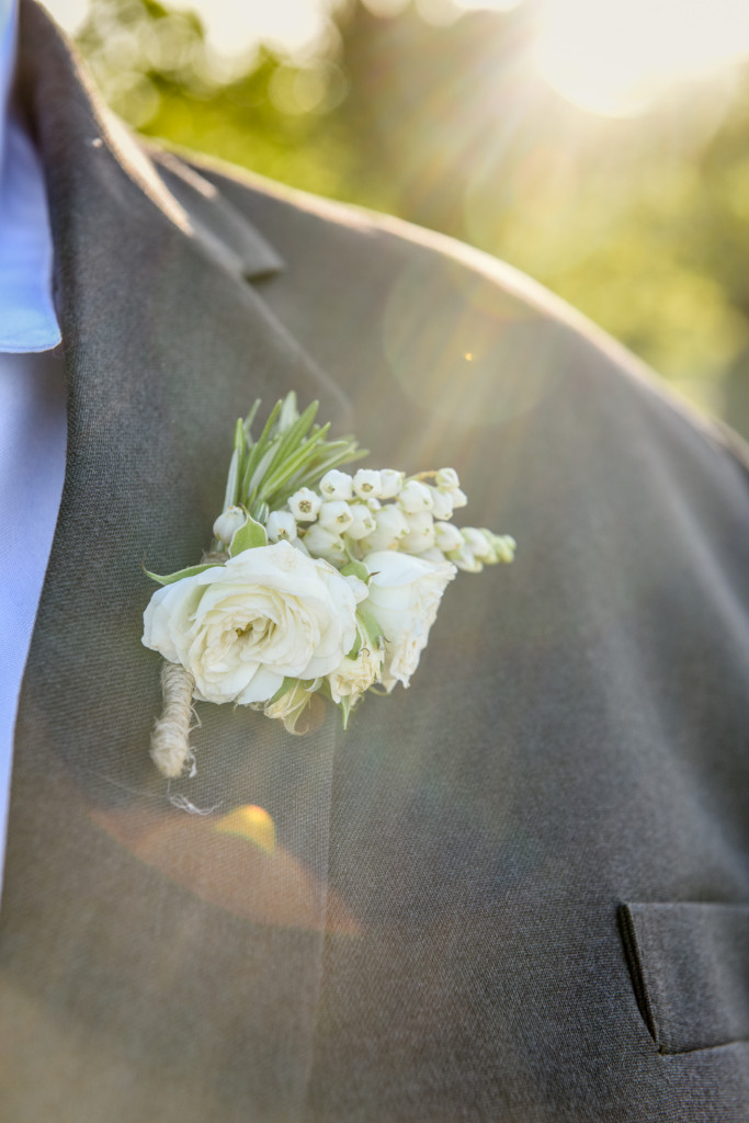 Detail of grooms flower lapel