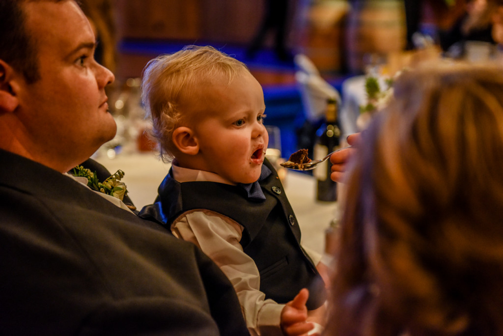 Bride feeds her son wedding cake