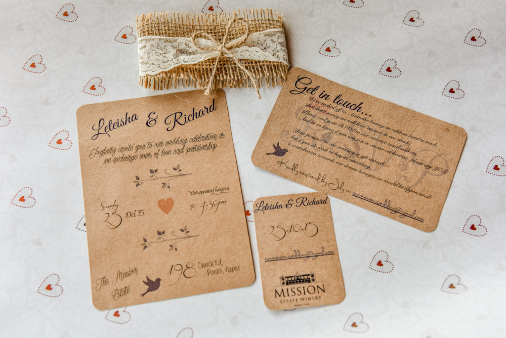 Cardboard wedding invitations and event cards