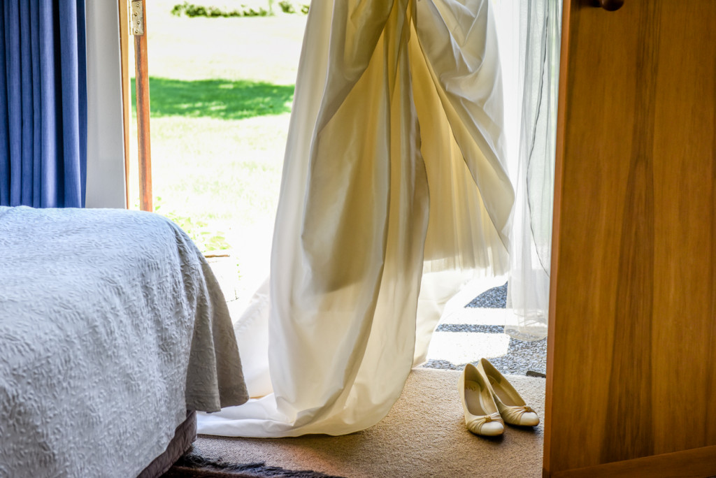 The beautiful cream wedding gown from Calla bridal