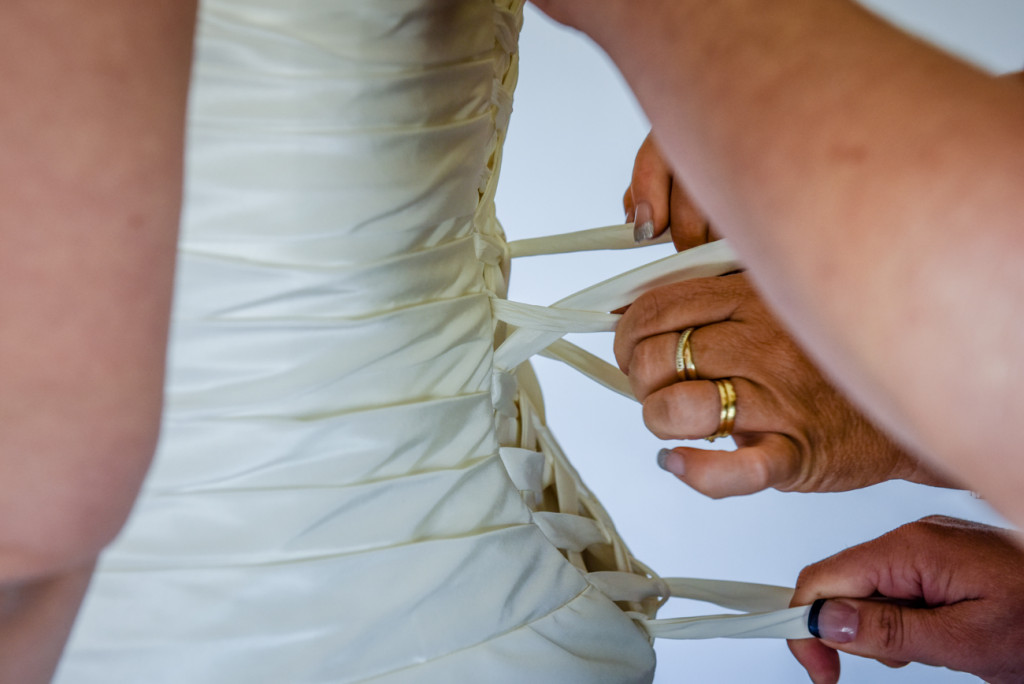 Detail of the bodice on the bride's gown