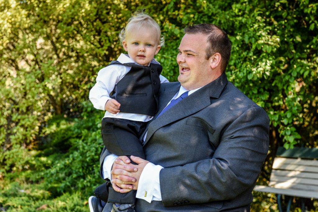 Groom and son