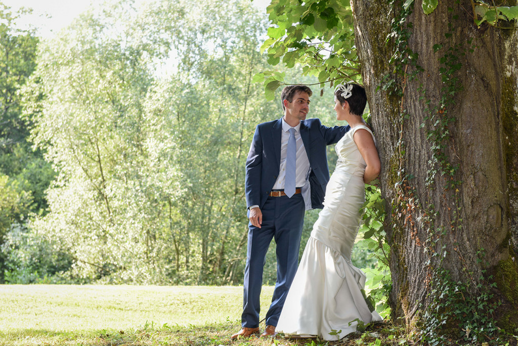 Newly married couple at photoshoot at their outdoor French Wedding in Pranemoux Castle France