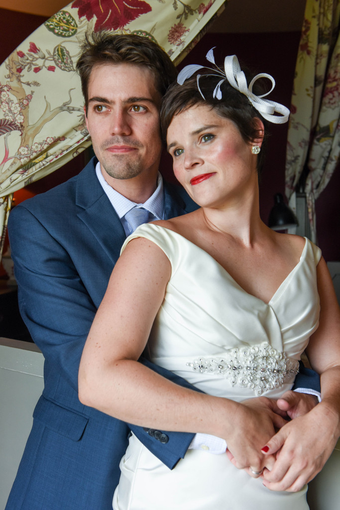 French American couple at their French wedding in the Pranemoux Castle France