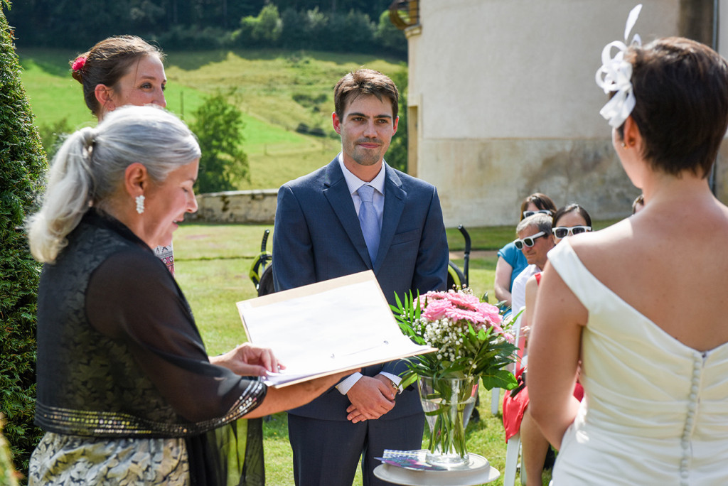 Groom at the altar at their Outdoor French Wedding in Pranemoux Castle France