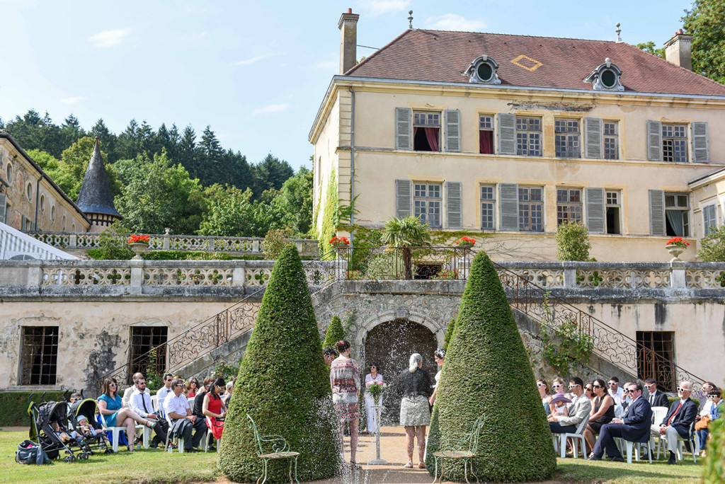 Couple and guests at the Outdoor French Wedding in Pranemoux Castle France