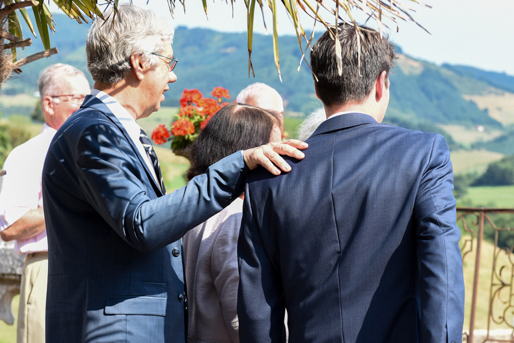 Groom with his father at his outdoor French Wedding in Pranemoux Castle France