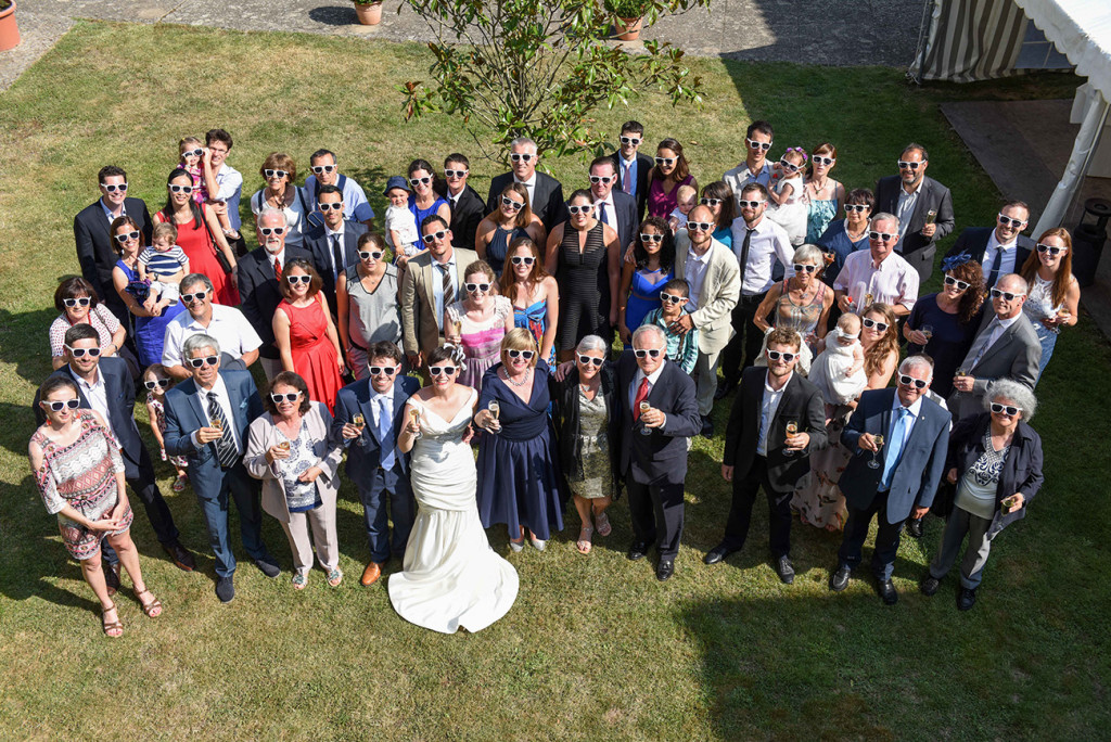 Aerial (Bird's eye) view of guests at the outdoor French Wedding in Pranemoux Castle France