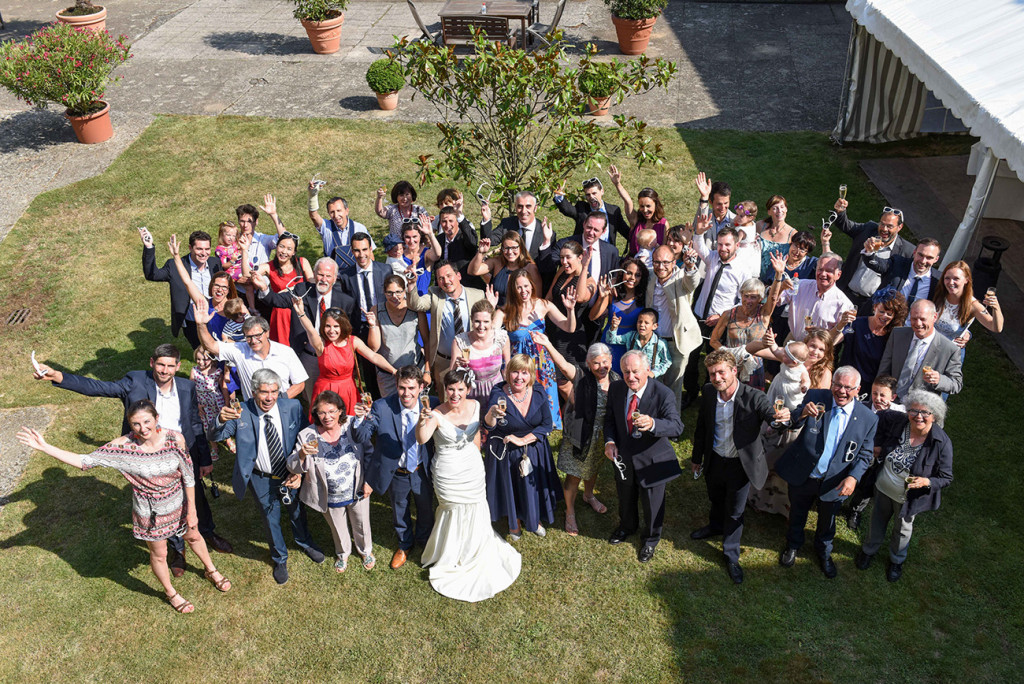 Bird's eye view of the couple and guests at the outdoor French Wedding in Pranemoux Castle France
