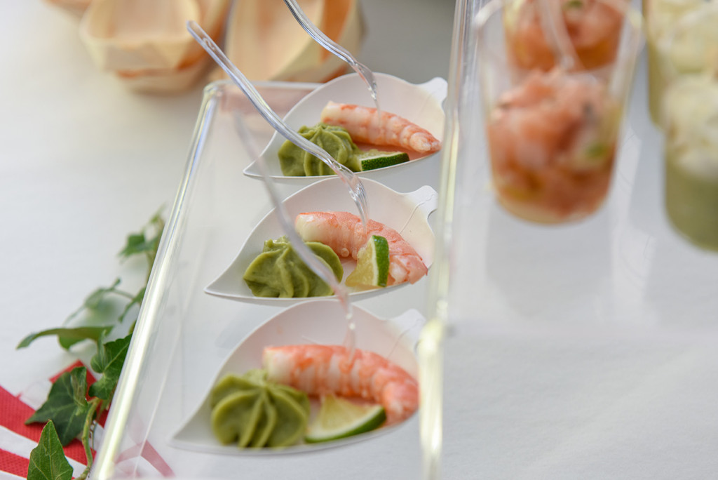 Shrimp served at the outdoor French Wedding in Pranemoux Castle France