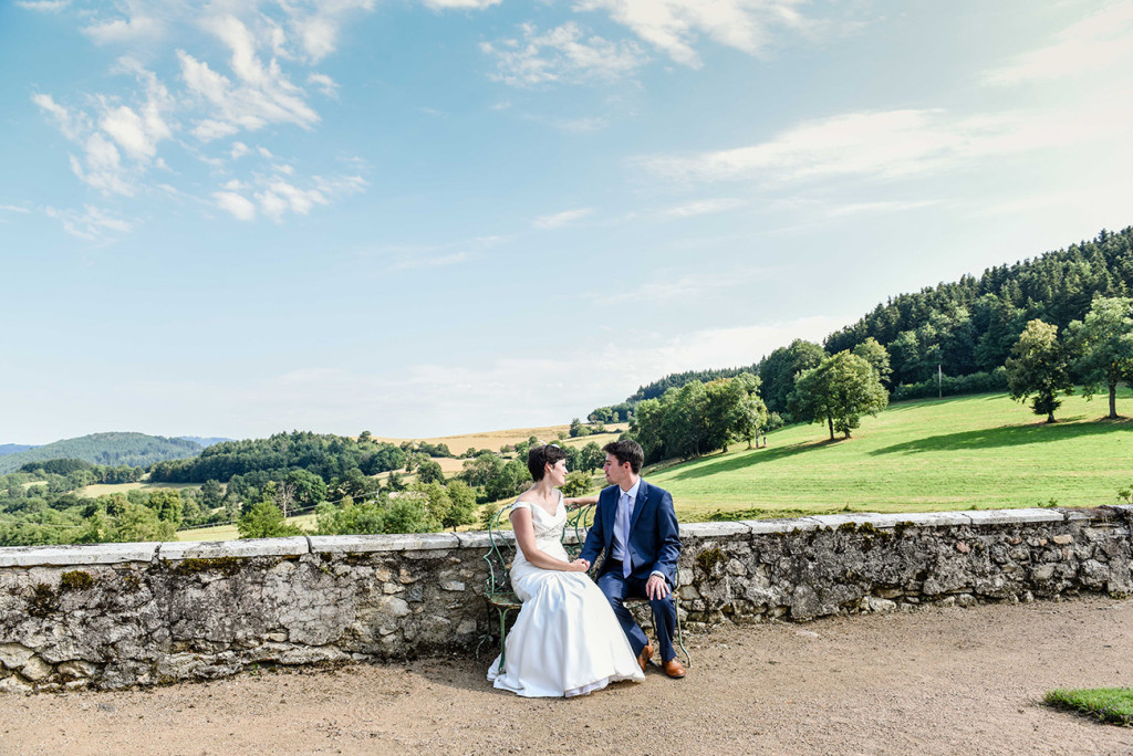 Bride and groom at their outdoor French Wedding in Pranemoux Castle France