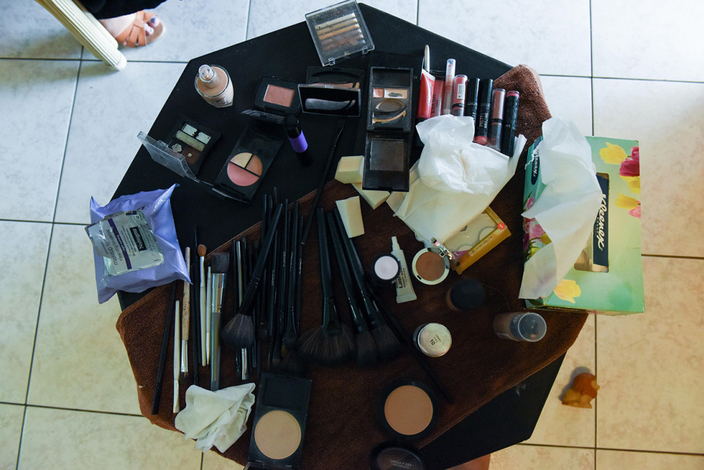 The bride's makeup kit before the Fiji wedding