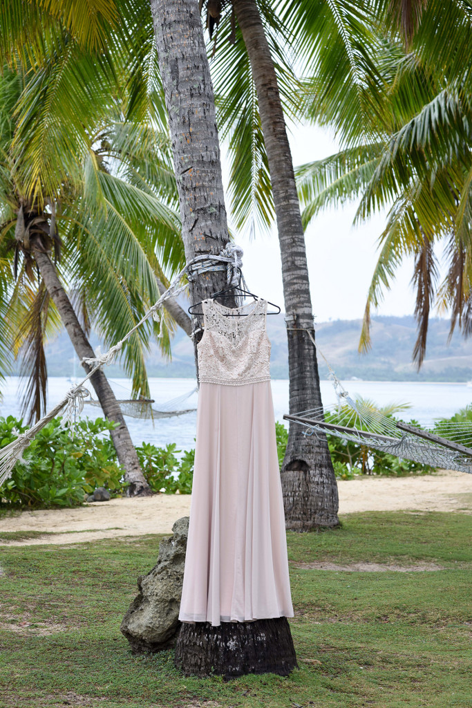 The bride's eggshell coloured wedding dress Fiji beach wedding, Malolo Island, Plantation Island Resort, Fiji