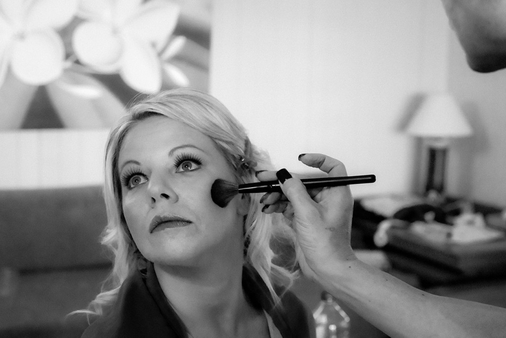 Black and whiteThe bride get's her makeup done for her Fiji beach wedding, Malolo Island, Plantation Island Resort, Fiji
