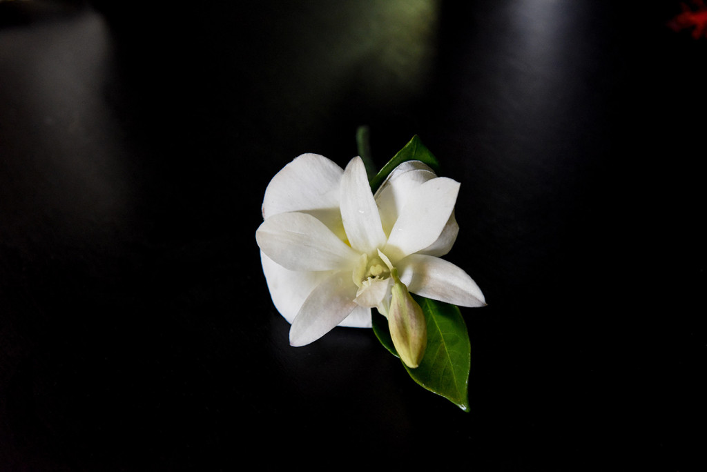 Grooms Boutonnière made of native white Fiji flower, Fiji beach wedding, Plantation Resort, Malolo Island