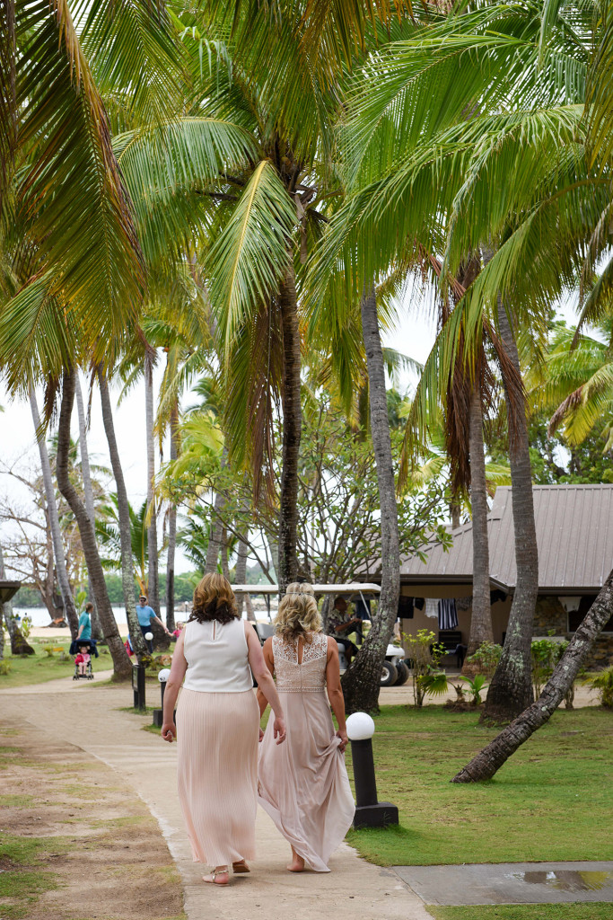 Bride and bridesmaid at the amily Beach Wedding on Malolo Island, Plantation Island Resort, Fiji Wedding Photographer