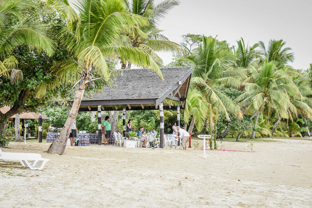 Glimpse of the Venue of the family Beach Wedding on Malolo Island, Plantation Island Resort, Fiji Wedding Photographer