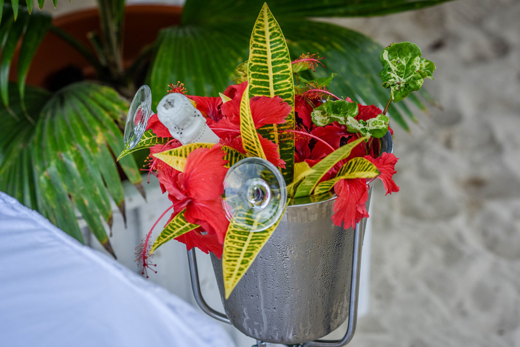 Bouquet of Fijian flowers at Fijian Beach Wedding family Beach Wedding on Malolo Island, Plantation Island Resort, Fiji Wedding Photographer