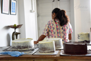 Chocolate wedding cakes almost finished. © Anais Photography.