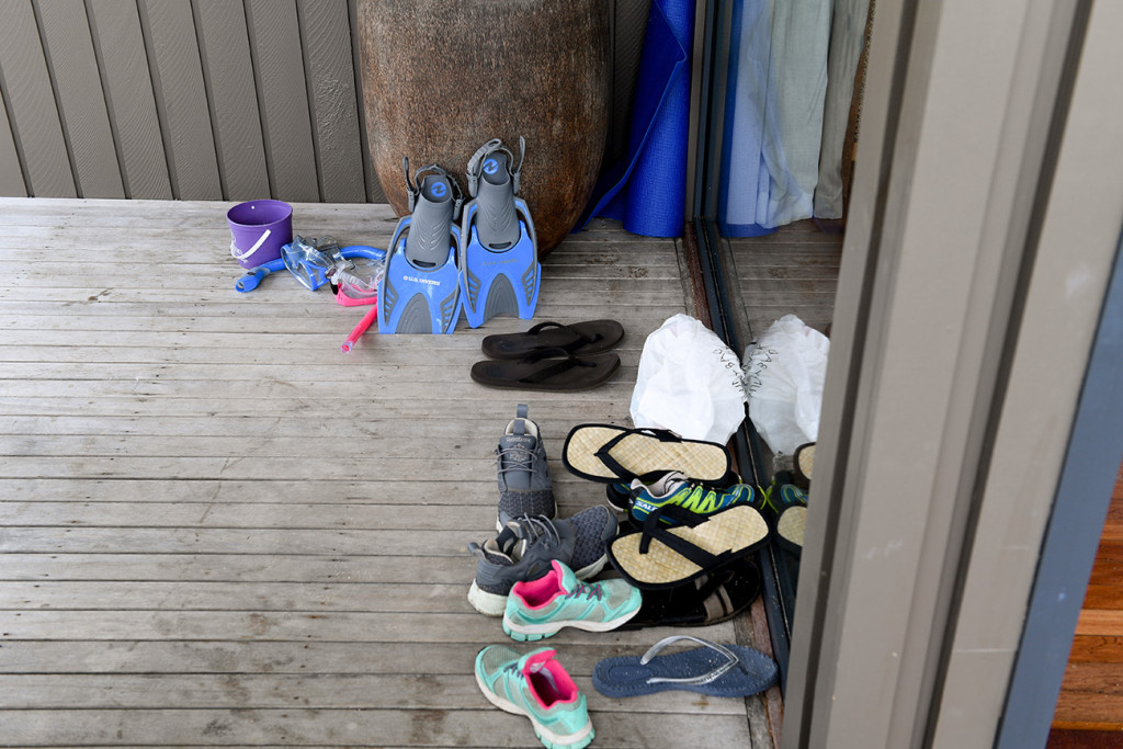 Shoes outside the beach villa at Vomo Island resort, Fiji