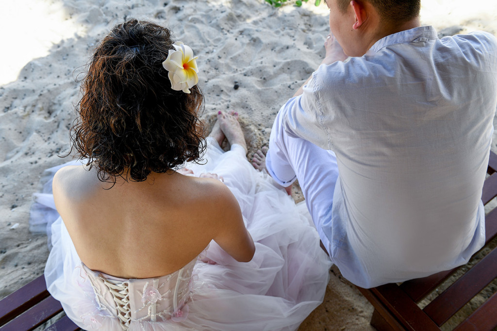 Bride and groom form above Paradise Cove island resort, Fiji