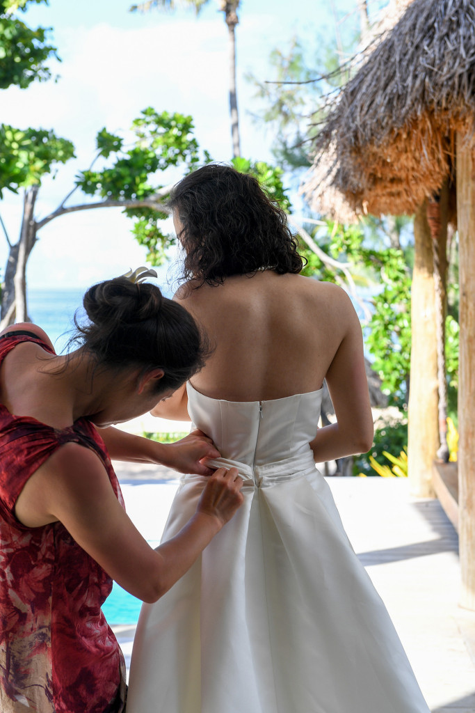 bride's dress at Paradise cove island resort, Yasawas, Fiji