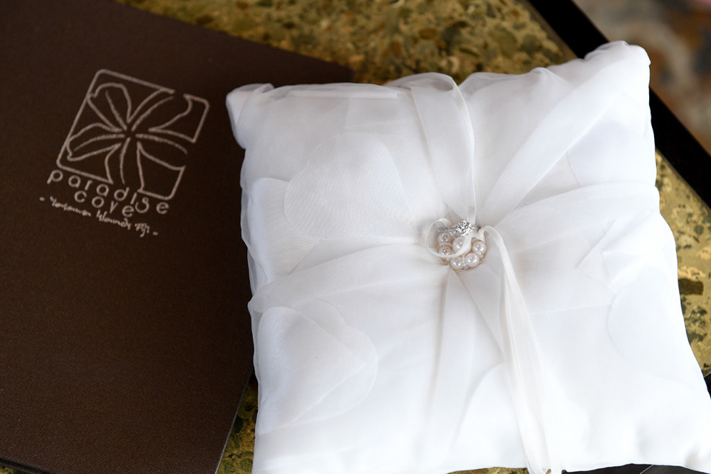 The wedding rings on the pillow