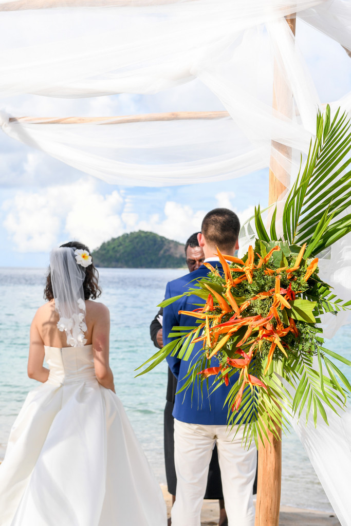 tropical flowers to decorate the wedding ceremony at Paradise cove island resort, Yasawas, Fiji
