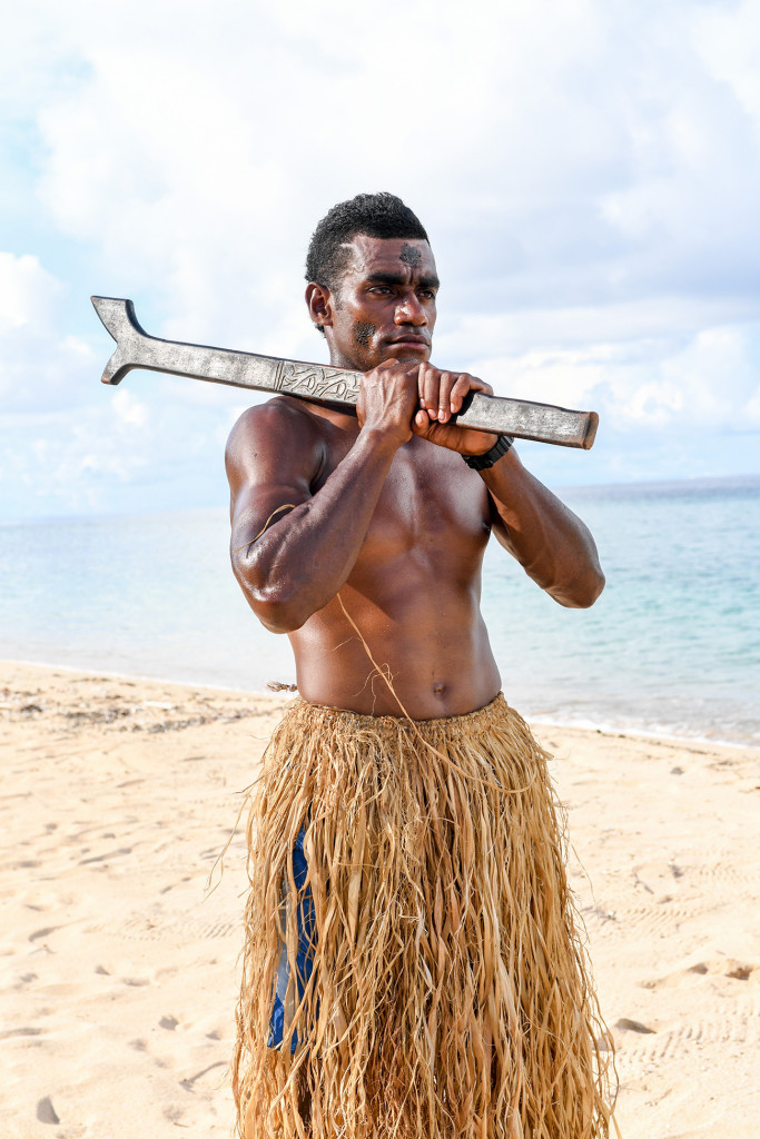 Portrait of a Fiji warrior at Paradise cove island resort, Yasawas, Fiji