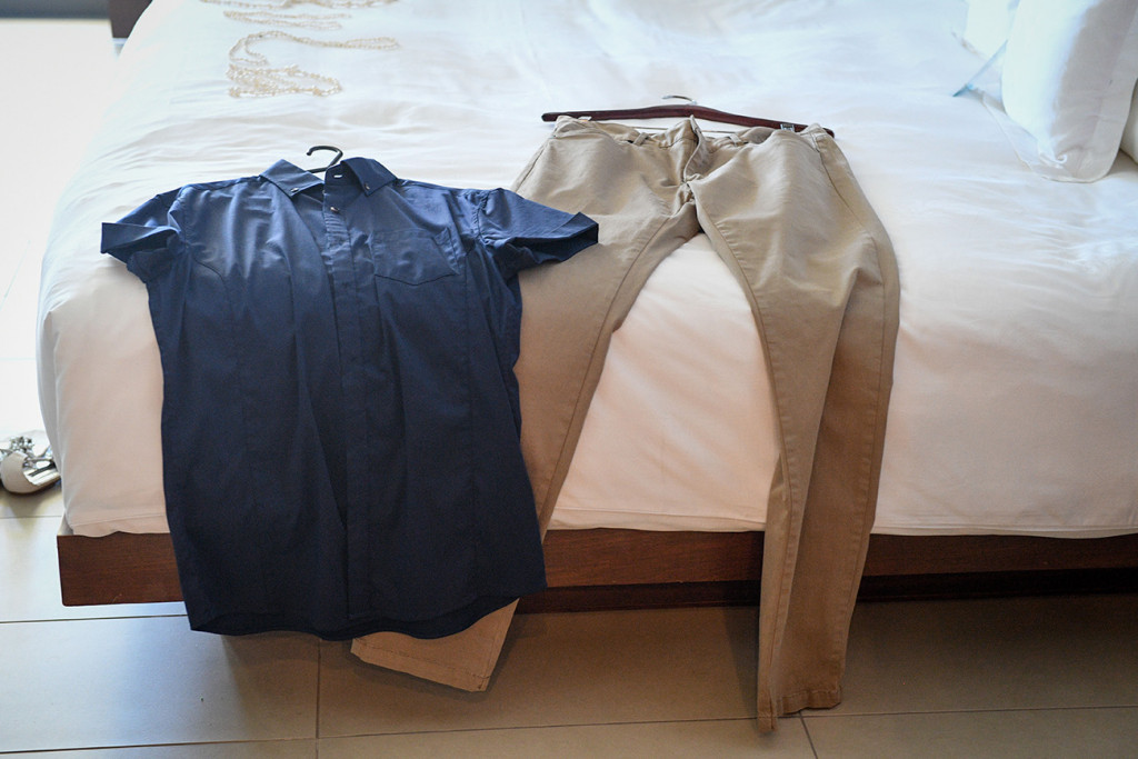 Groom's khaki pants and shirt from Tarocash in Fiji elopement