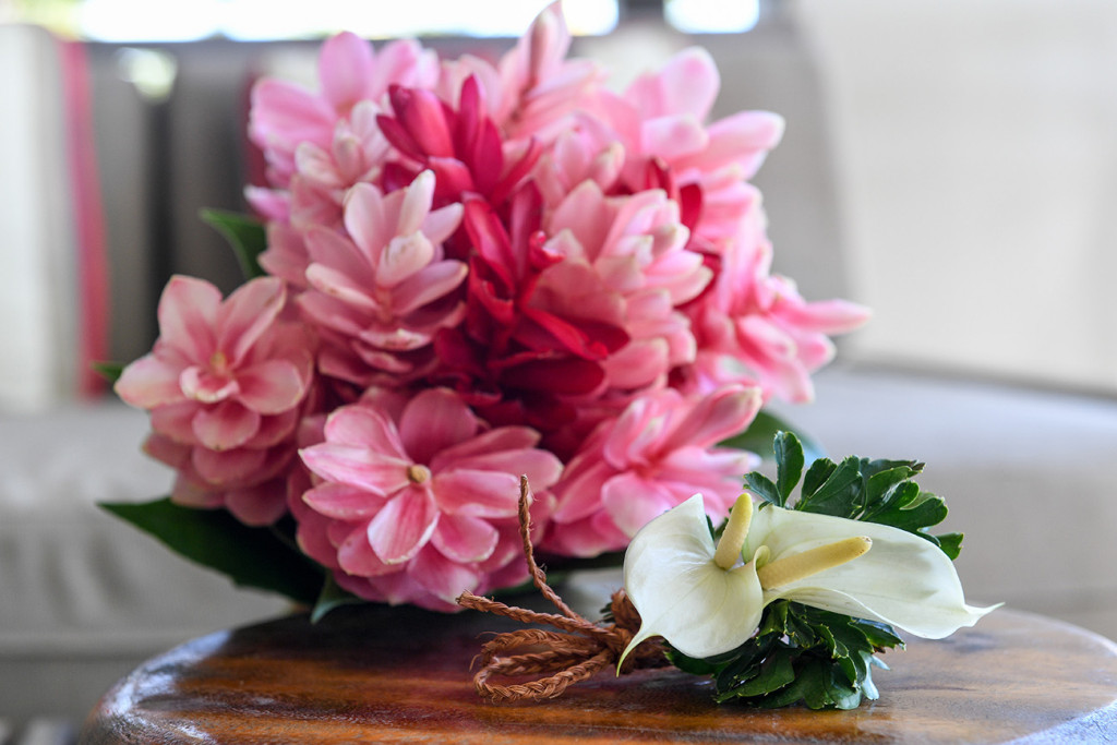 Fuschia island flowers in Fiji Elopement