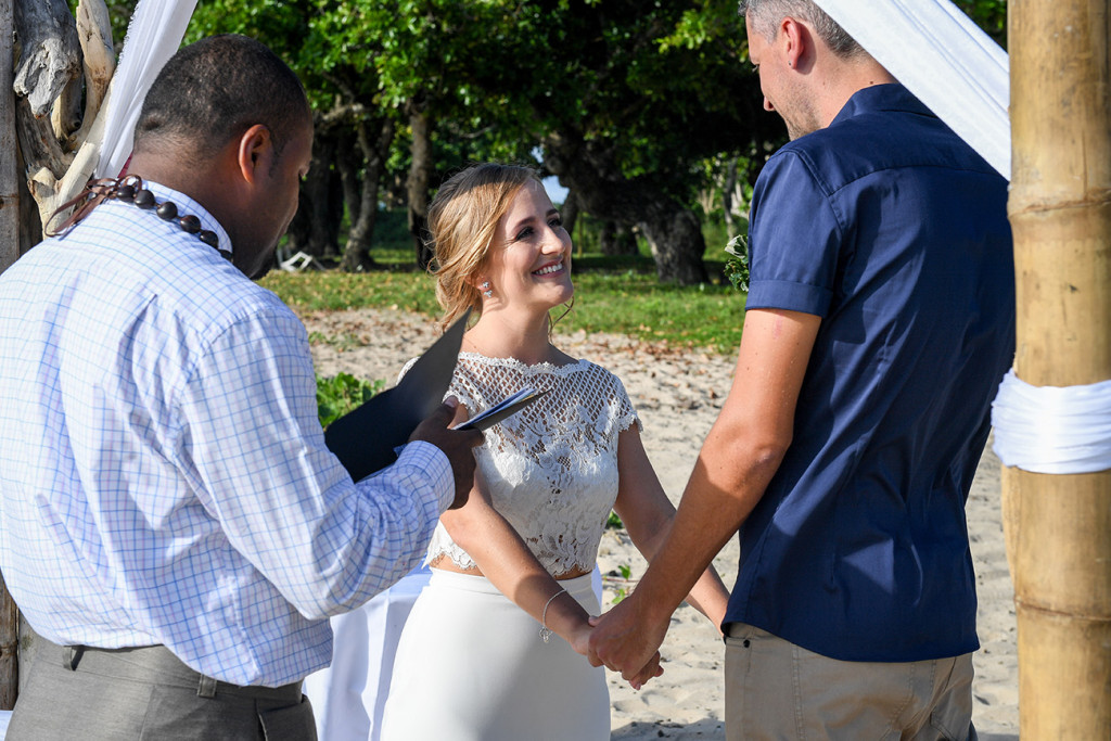 Beach elopement wedding ceremony Yatule Fiji