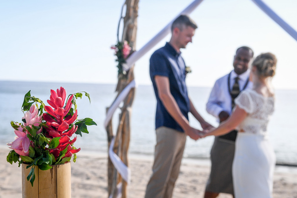 Vow exchange in elopement beach wedding ceremony, Yatule Fiji