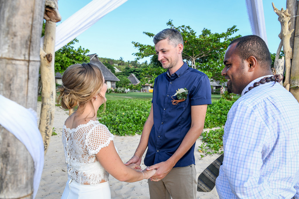 Fiji beach elopement vow exchange