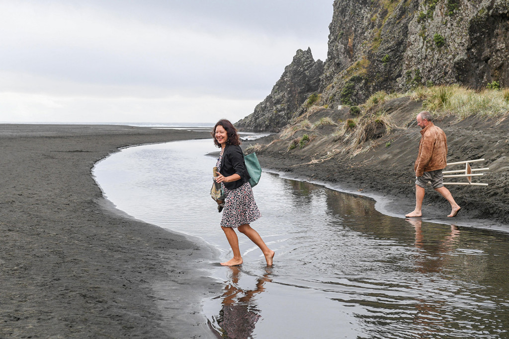 Fun celebrant on the shores of Karekare New Zealand