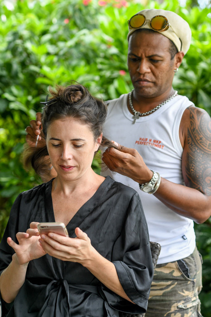 Bride gets her hair made before wedding on Vomo Island Resort Fiji