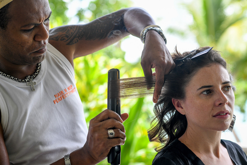 Hair touch up before Vomo Island Resort Fiji family wedding