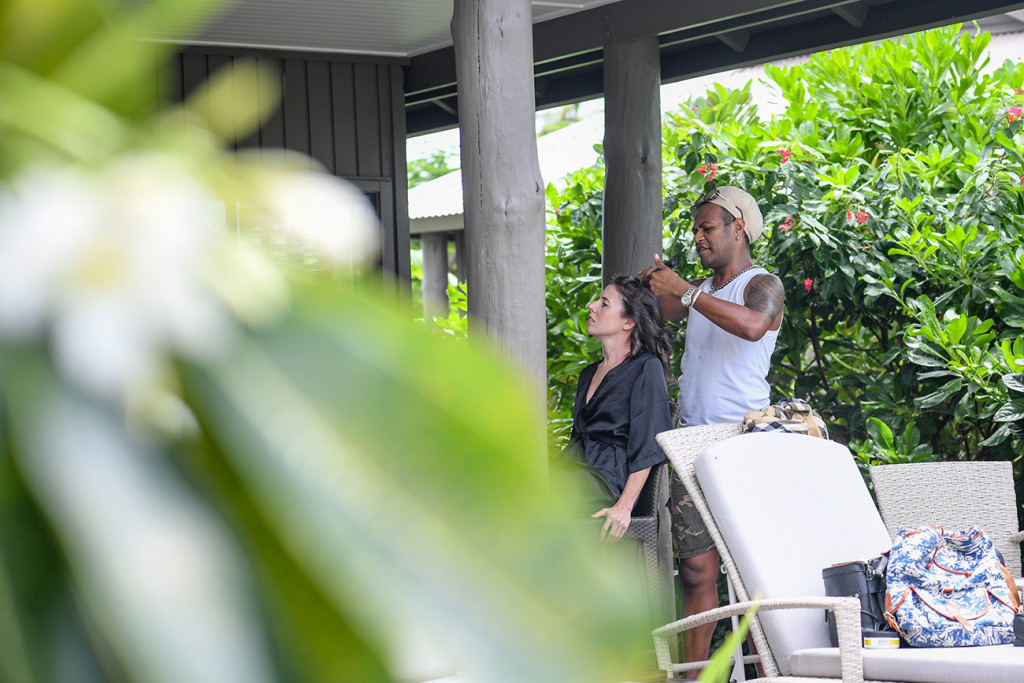 Bride's hair gets done at their Villa at the Vomo Island Resort