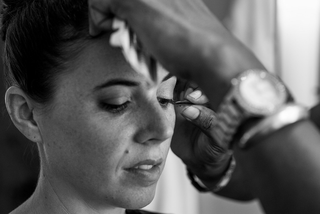 Closeup of Bride's makeup being done at Vomo Island Resort Fiji