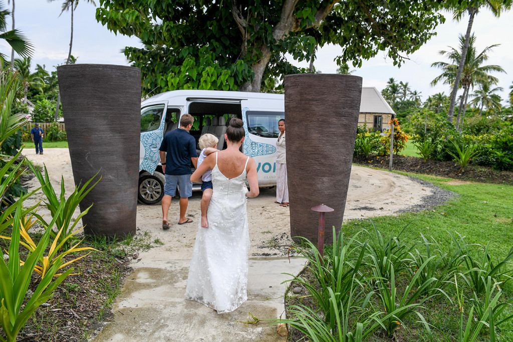 Bride leaves for ceremony venue Vomo Island Resort Fiji