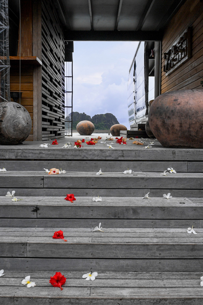 Scattered petals at the entrance of Vomo Island resort Fiji