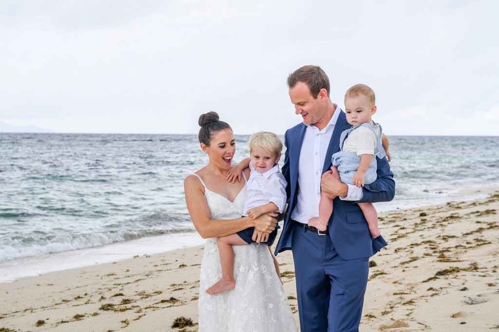 Happy family wedding at Vomo Island Resort Fiji