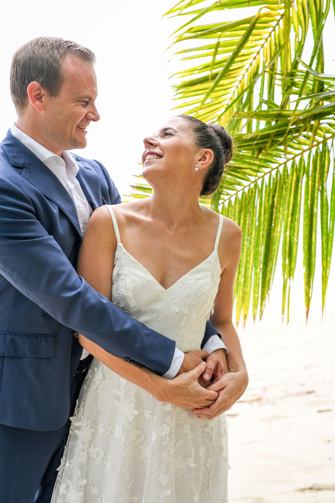 Happily married couple in Vomo Island Resort Fiji wedding