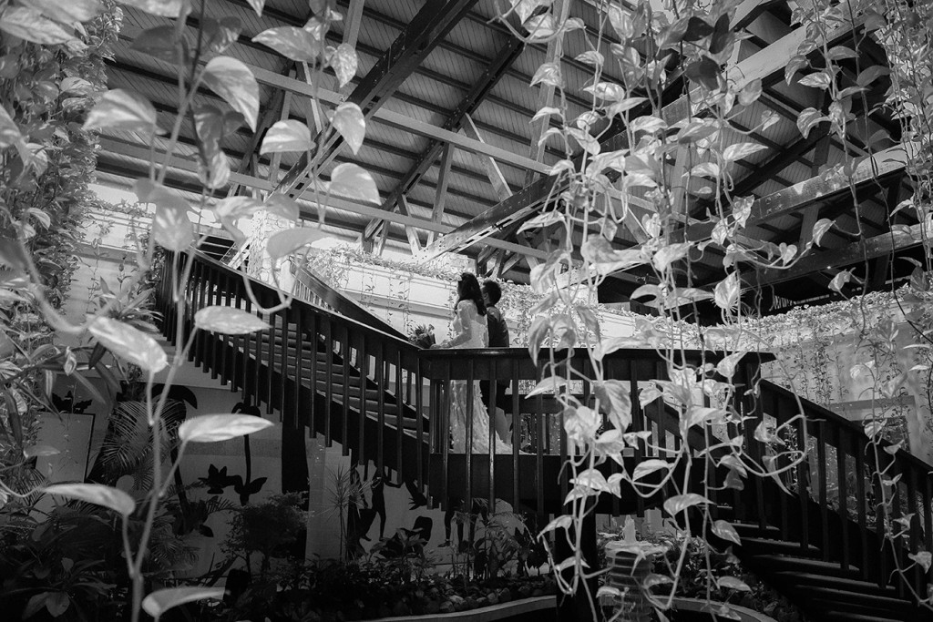 Black and white photograph of wedding streamers