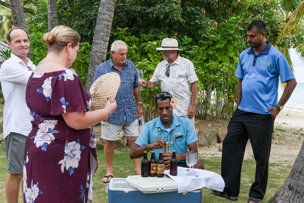 Beers traditionally opened at Fiji resort Plantation Island wedding